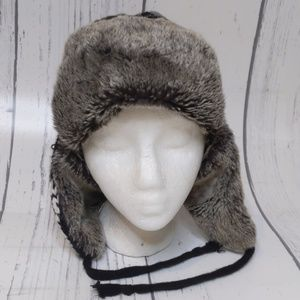 Gray Black Faux Fur Trapper Winter Beanie Ski Hat